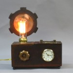Steampunk lamp, with clock and dimmer