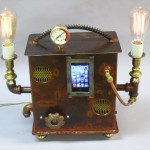 steampunk lamp, ipod boom box