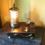 steampunk lamp, phone charging box